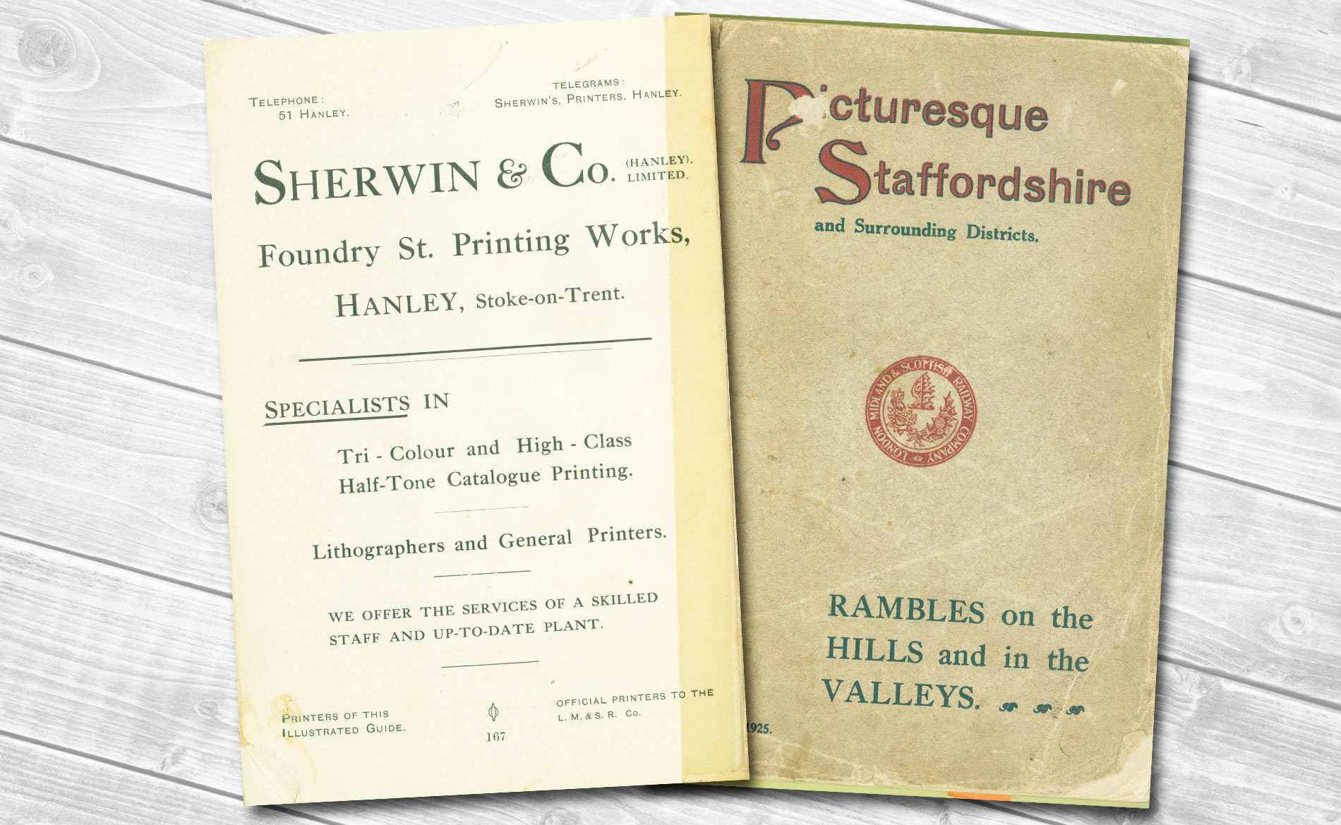Sherwin Rivers Printers Ltd - Stoke-on-Trent, Staffordshire, Family run printing company for over a century - Sherwin & Co's Picturesque Staffordshire, printed in 1925 for the London Midland and Scottish Railway by Sherwin & Co, Hanley. (Advert in back of book).