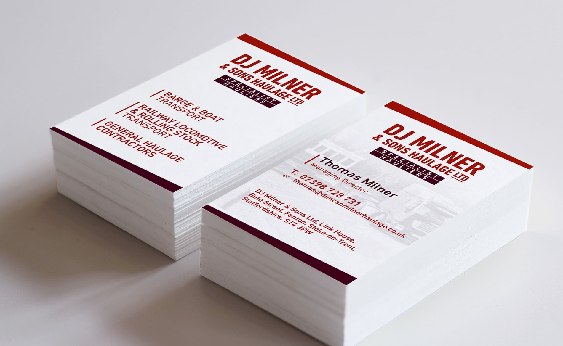 Graphic Design and Branding Services DJ Milner Haulage Business Card Design