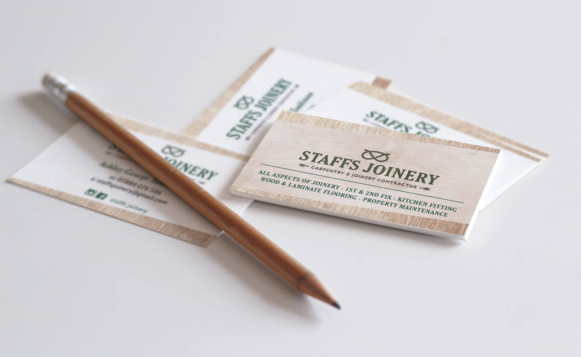 Graphic Design and Branding Services Staffs Joinery Business Card Design